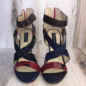 NWOT Sophia & Lee Snake Print Blue and Red Heels